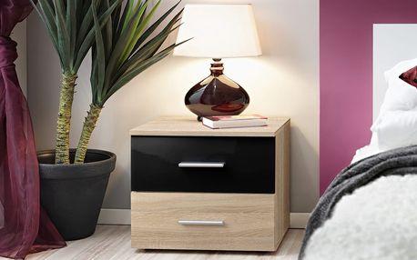 Noční stolek Vicky, dub sonoma/dub sonoma a černý lesk
