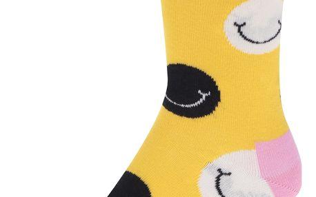Žluté dámské ponožky s motivem smajlíků Happy Socks Smile