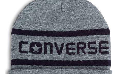 Converse šedá čepice s bambulí Wordmark Pom Knit Heather Grey