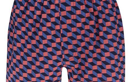 Oranžovo-modré pánské trenýrky Happy Socks Filled Optic