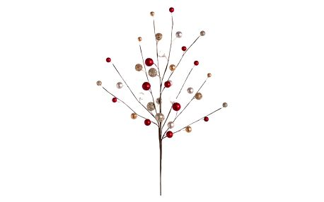 Dekorace se zlatými a červenými perlami Unimasa, 45 cm