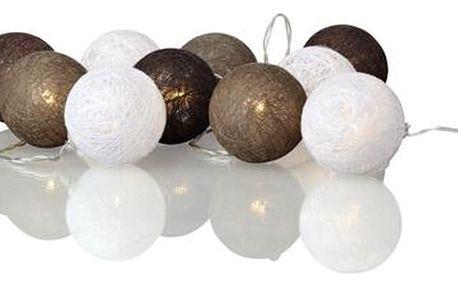 Hnědo-bílý svítící LED řetěz Markslöjd Twix Brown White