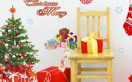Vánoční samolepky Fanastick Santa,Balls and Tree