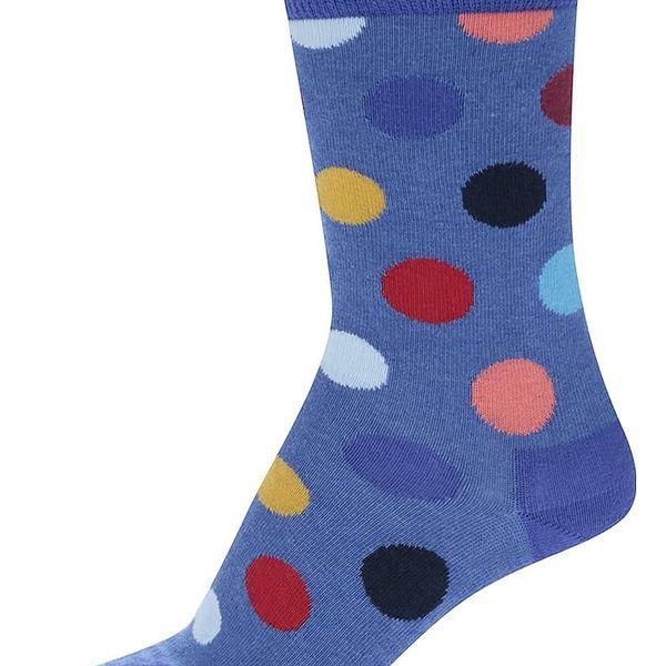 Modré dámské puntíkované ponožky Happy Socks Big Dot