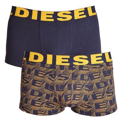 2PACK pánské boxerky Diesel tmavě modré se žlutým písmem L
