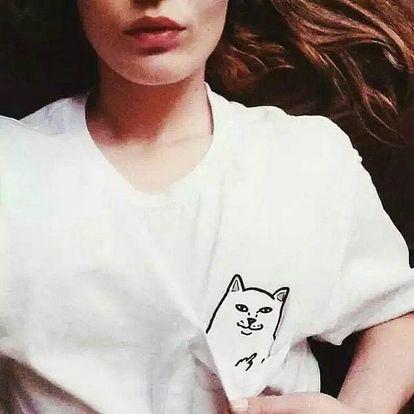 Zdánlivě roztomilé tričko se sprostou kočičkou - 3 barvy