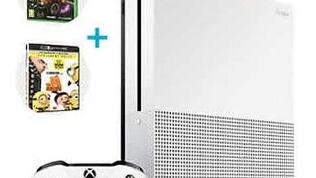 Herní konzole Microsoft Xbox One S, 500GB, bílá + Rocket League + Já, padouch 3 (UHD) + Xbox Live na 3 měsíce