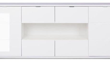 Lesklá bílá dvoudveřová komoda se 4 zásuvkami Intrertrade Glossy - doprava zdarma!
