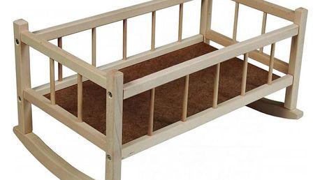 TEDDIES Kolébka pro panenky dřevěná 49x28x27 cm