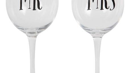 sass & belle Sklenice na víno Mr & Mrs MRS, černá barva, čirá barva, sklo