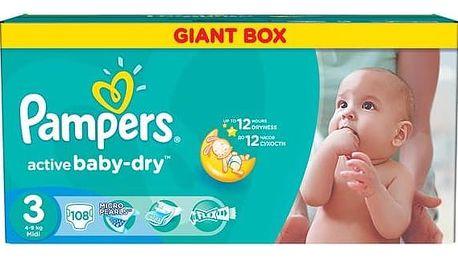 Plenky Pampers Active Baby-dry vel. 3 Midi, 108ks + Doprava zdarma