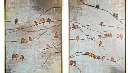 Sada 2 ručně malovaných obrazů Graham & Brown Birds - doprava zdarma!