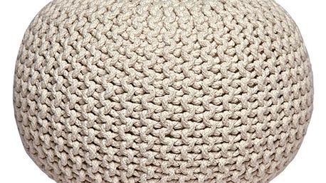 Krémový pletený puf LABEL51 Knitted - doprava zdarma!