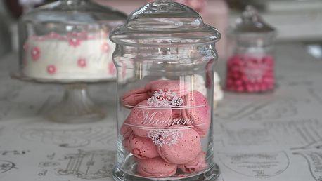 Chic Antique Skleněná dóza s víkem Macarons, čirá barva, sklo
