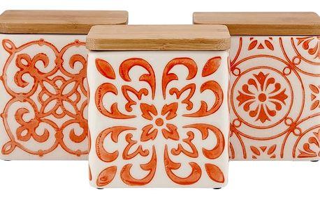 Sada 3 keramických dóz na potraviny s bambusovým víčkem a oranžovým vzorem Ladelle Coventry