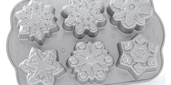Nordic Ware Hliníková forma na pečení Frozen Snowflakes, šedá barva, kov