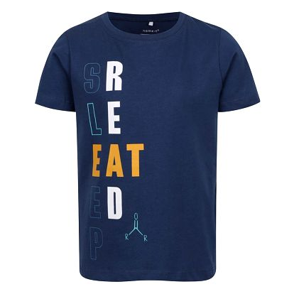 Tmavě modré klučičí triko s potiskem Name it Victorian
