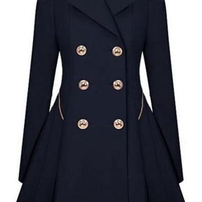 Elegantní dámský kabát s knoflíky - 3 barvy