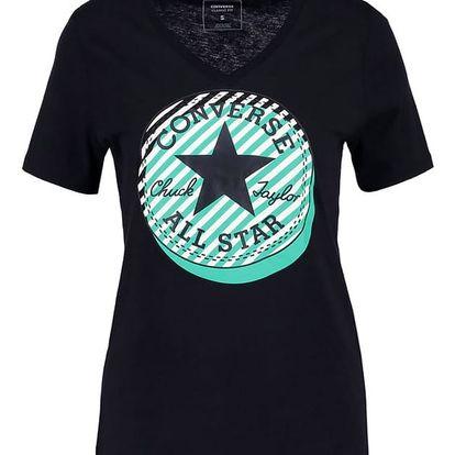 Dámské tričko Converse Off Center Stripe vneck tee černá M