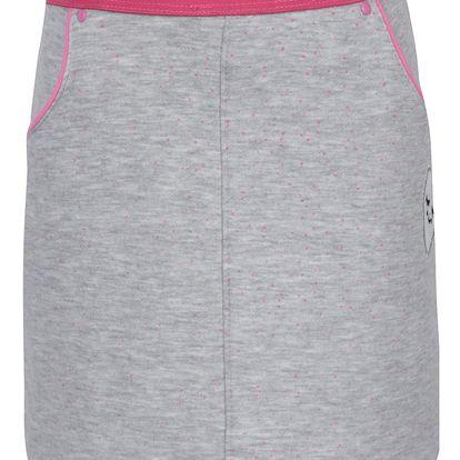 Světle šedá holčičí vzorovaná sukně s pružným pasem a nášivkou 5.10.15.