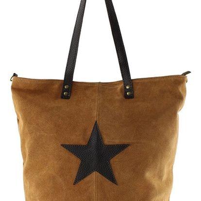 Koňakově hnědá kožená kabelka Chicca Borse Asterisco - doprava zdarma!