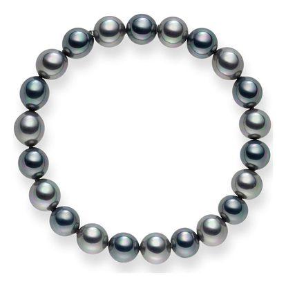 Antracitovo-stříbrný perlový náramek Mystic, 19 cm