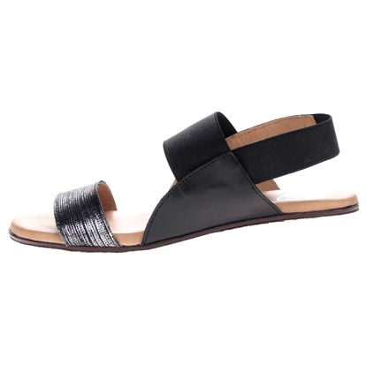 Černé kožené sandály s třpytivým páskem OJJU