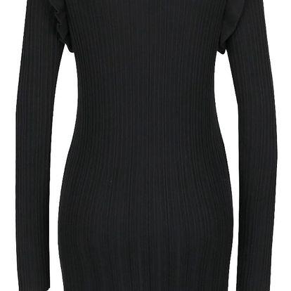 Černé žebrované svetrové šaty s rolákem VILA Now