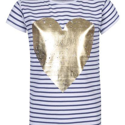 Modro-bílé holčičí pruhované tričko s potiskem srdce 5.10.15.