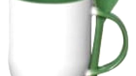 Hrnek s barevnou lžičkou 0,33 l - zelená
