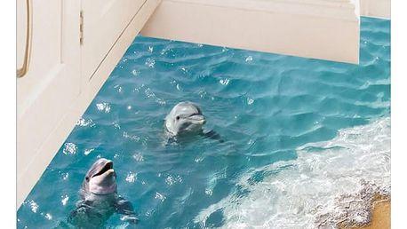 3D samolepka s delfíny