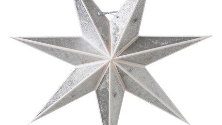 watt & VEKE Závěsná svítící hvězda Kristall Silver 60 cm, stříbrná barva, papír