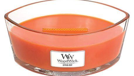 Svíčka s vůní citrusů a květu mandarinky WoodWick, dobahoření80hodin