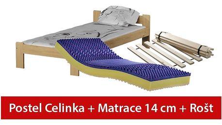 POSTEL CELINKA 80 x 200 + SENDVIČOVÁ MATRACE + ROŠT