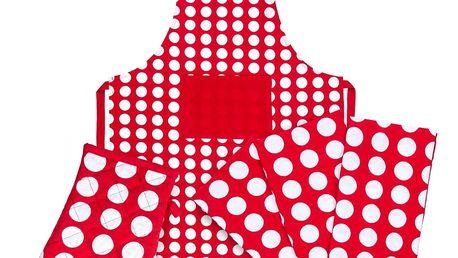 4Home Výhodná kuchyňská sada Červený puntík