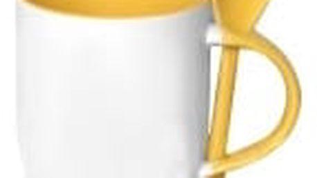 Hrnek s barevnou lžičkou 0,33 l - žlutá