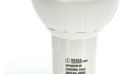Žárovka LED Tesla bodová, 5W, GU10, teplá bílá, stmívatelná
