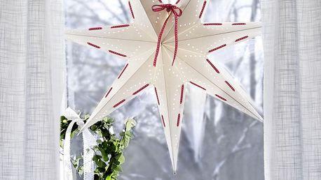 STAR TRADING Závěsná svítící hvězda Vira White 60 cm, červená barva, bílá barva, papír