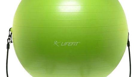 Gymnastický míč LIFEFIT s expanderem GYMBALL EXPAND 65 cm zelený