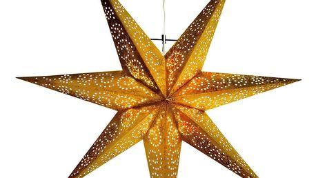 STAR TRADING Závěsná lampa Gold Star, zlatá barva, papír