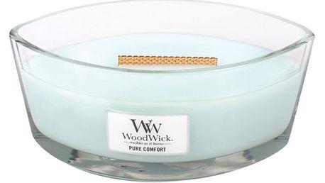 Svíčka s vůní čisté prádlo, citrusy a pižmo WoodWick Čisté pohodlí, dobahoření80hodin