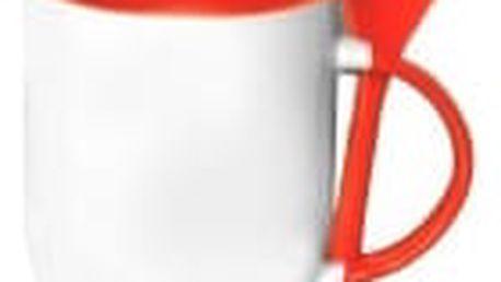 Hrnek s barevnou lžičkou 0,33 l - oranžová