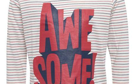 Krémové dětské pruhované tričko s potiskem Tom Joule Finlay