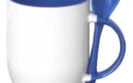 Hrnek s barevnou lžičkou 0,33 l - modrá