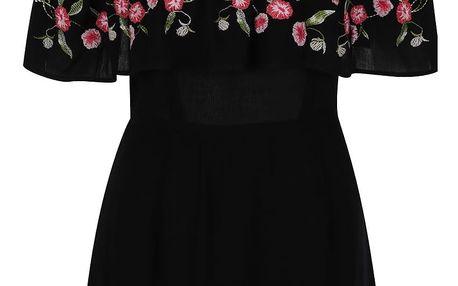 Černé květované šaty s průstřihy na ramenou Miss Selfridge Petites