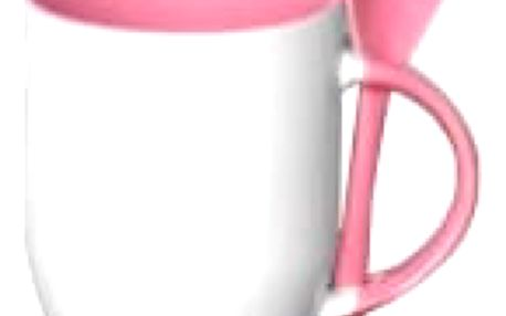 Hrnek s barevnou lžičkou 0,33 l - růžová