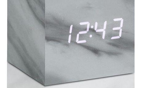 Mramorový budík s bílým LED displejem Gingko Cube Click Clock