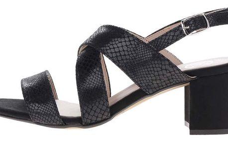 Černé sandálky s hadím vzorem na podpatku OJJU