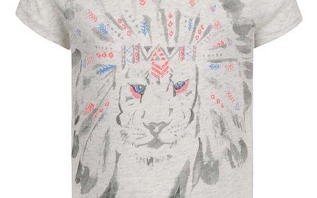 Šedé holčičí tričko s potiskem lva name it Kion