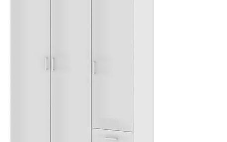 Skříň, 3 - dveřová, bílá, GWEN 70427